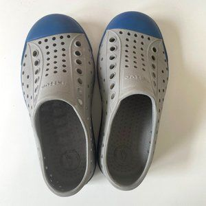 Native Jefferson Gray Blue Slip On Shock Absorbent Water Loafer Shoes Washable